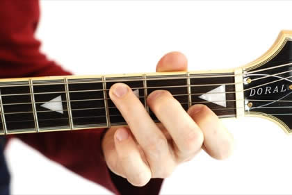 Finger position to perform C chord