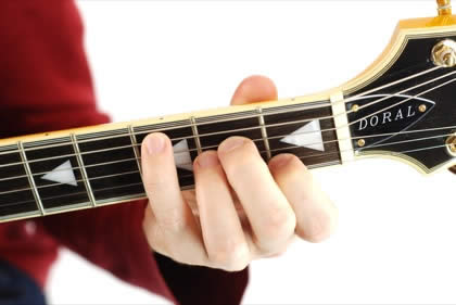 Finger position to perform C sixth chord (C6)