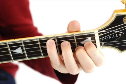 Finger position to perform C augmented chord (C+, Caug)