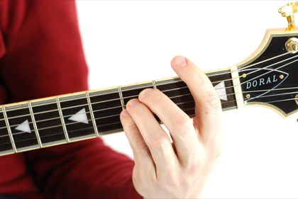 Finger position to perform F suspended fourth chord (F4, Fsus, Fsus4)