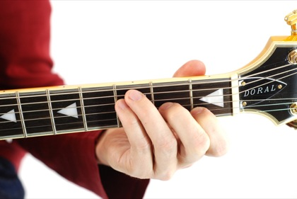 Finger position to perform F major seventh chord (F7+, Fmaj7)