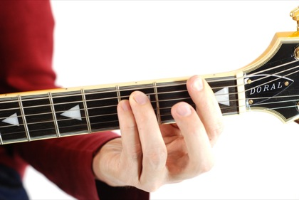 Finger position to perform F minor chord (Fmin, F-, Fmi)