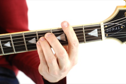 Finger position to perform Gb suspended fourth chord (Gb4, Gbsus, Gbsus4)