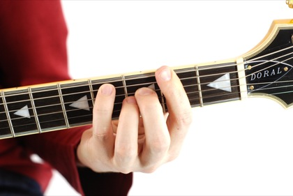 Finger position to perform Gb major seventh chord (Gb7+, Gbmaj7)