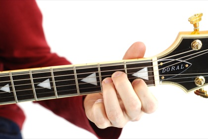 Finger position to perform A minor chord (Amin, A-, Ami)