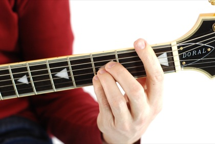 Finger position to perform Bb chord