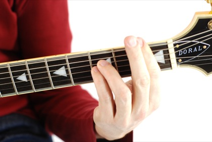 Finger position to perform A# suspended second chord (A#2, A#sus2)