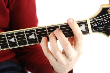 Finger position to perform A# suspended fourth chord (A#4, A#sus, A#sus4)