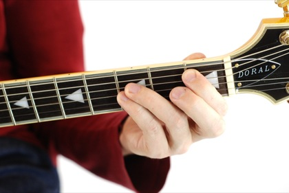 Finger position to perform A# power chord (A#5)