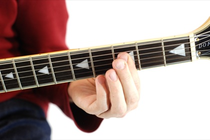 Finger position to perform A# sixth chord (A#6)