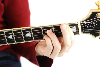 Finger position to perform Bb dominant seventh chord (Bb7)