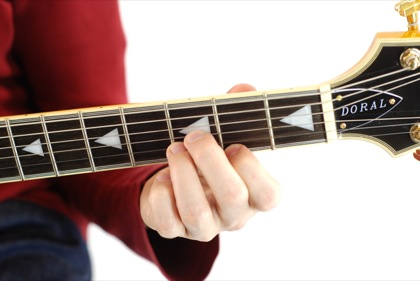 Finger position to perform A# augmented chord (A#+, A#aug)