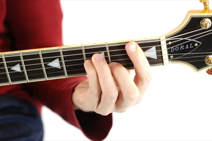 Finger position to perform A# minor chord (A#min, A#-, A#mi)