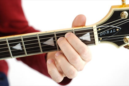 Finger position to perform E minor chord (Emin, E-, Emi)