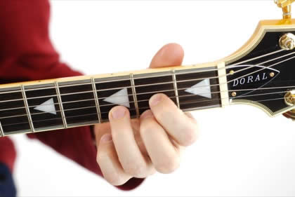 Finger position to perform D chord
