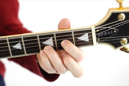 Finger position to perform D suspended fourth chord (D4, Dsus, Dsus4)