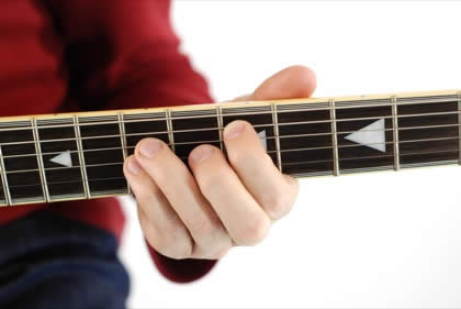 Finger position to perform D power chord (D5)