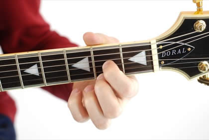 Finger position to perform D sixth chord (D6)