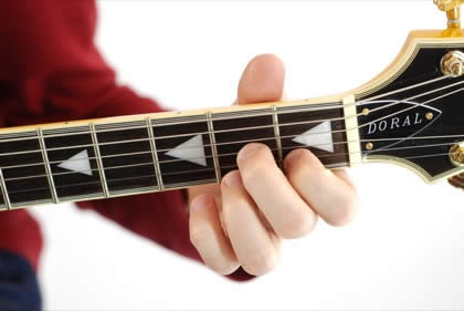 Finger position to perform D dominant seventh chord (D7)