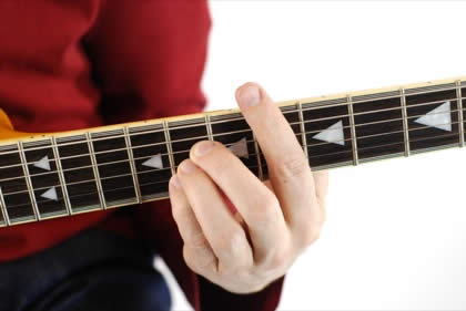 Finger position to perform Eb chord