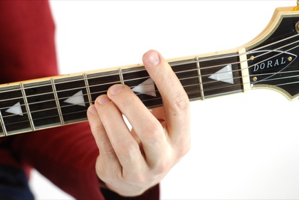 Finger position to perform B chord
