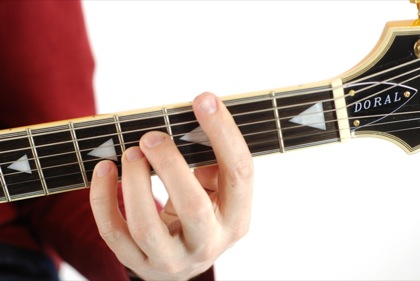 Finger position to perform B suspended fourth chord (B4, Bsus, Bsus4)