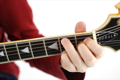Finger position to perform B sixth chord (B6)