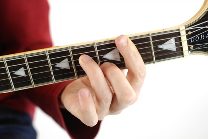 Finger position to perform B minor seventh chord (Bm7, B-7, Bmi7)