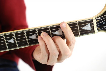 Finger position to perform B minor chord (Bmin, B-, Bmi)