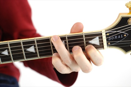 Finger position to perform G suspended fourth chord (G4, Gsus, Gsus4)