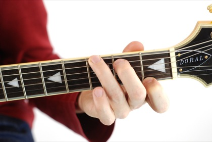 Finger position to perform G dominant seventh chord (G7)