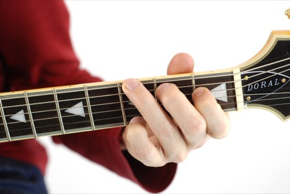 Finger position to perform G augmented chord (G+, Gaug)