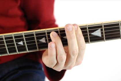 Finger position to perform G# minor seventh chord (G#m7, G#-7, G#mi7)
