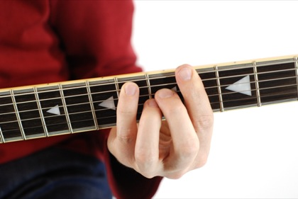 Finger position to perform G# major seventh chord (G#7+, G#maj7)